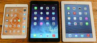 Three Generations of the Apple iPad released though the 2010's under Steve Jobs