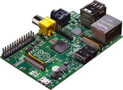 The Raspberry Pi (2012) with ports for a monitor, keyboard, and an RJ45 jack for network connectivity