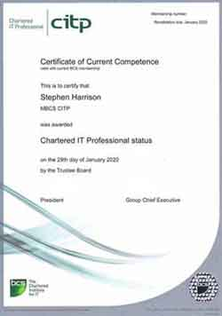 Here Is My Chartered IT Professional Certificate Of Compliance