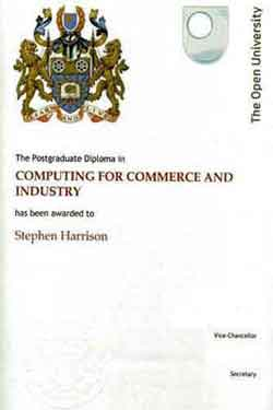 My Computing For Commerce And Industry Postgraduate Diploma Certificate