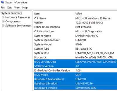 Windows Operating System MSINFO32 System Information