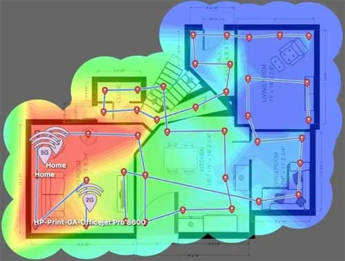 Example Of A Heatmap Showing Wireless Coverage Quality Inside A Home