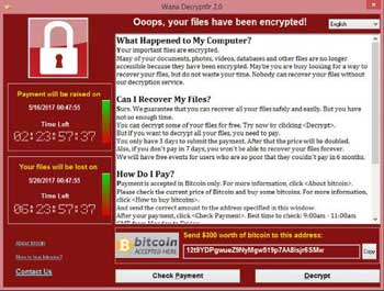 The WannaCry Ransomware Attack Splash Screen (12th May 2017)