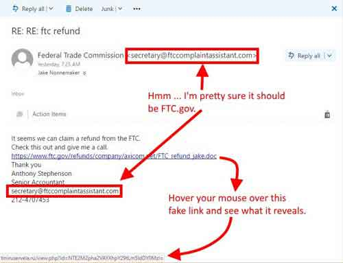 Phishing E-Mail Scam Example