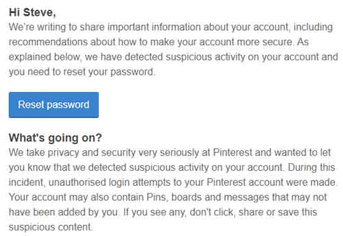 Suspicious Activity Alert I Received From Pinterest A Few Years Ago
