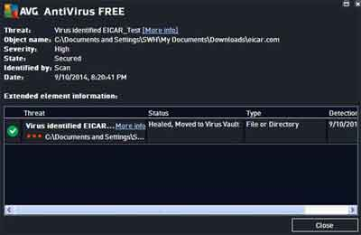 AVG Anti Virus Free Edition Manual Scan Results