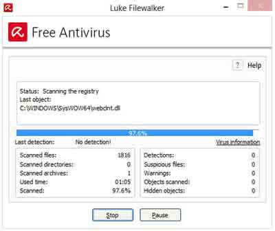 Avira Free Antivirus 2015 Manual Scan