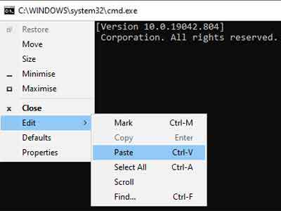 Pasting Commands Into The Windows Command Prompt