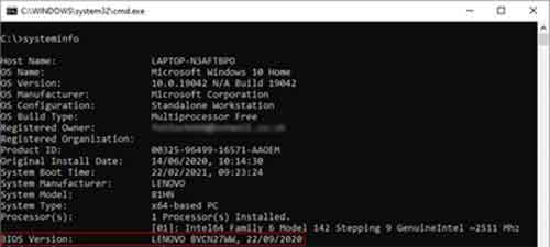 Systeminfo By Command Prompt