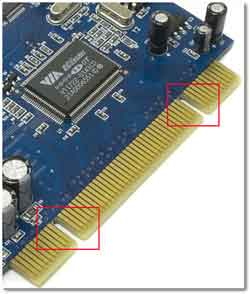 A Close Up Of The PCI Connectors On A Sound Card