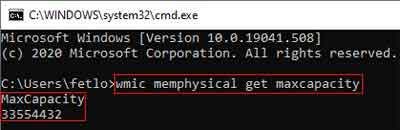 Command Prompt Instruction And Outcome To Determine the Maximum Amount Of RAM Your Device Can Handle