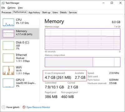 Task Manager RAM Consumption