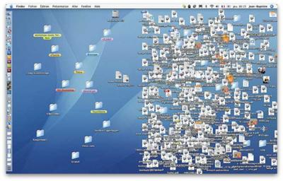 An Apple MacBook Cluttered Desktop