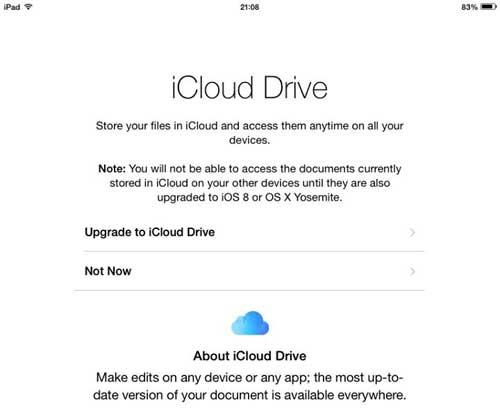 iOS8 Set Up iCloud Drive Upgrade