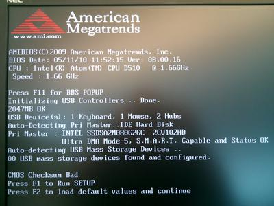 AMI BIOS Bad Checksum Error Message