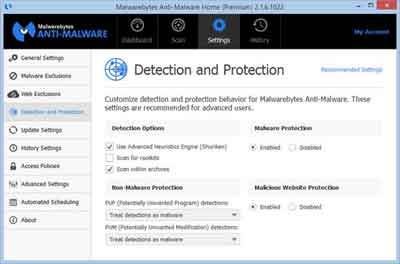 Settings > Detection and Protection