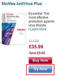 McAfee Free Trial Web Page