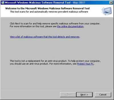 Microsoft Malicious Removal Tool Scan Start