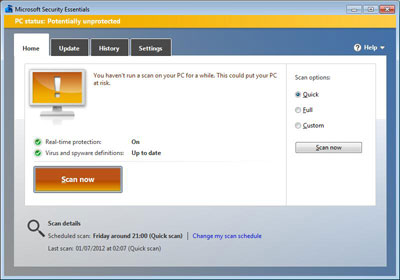 Microsoft Security Essentials Unprotected Screen