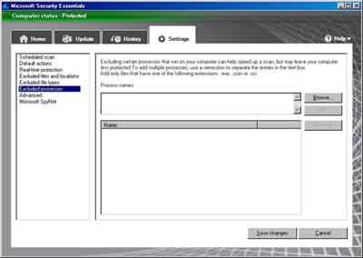 Microsoft Security Essentials Excluded Processes