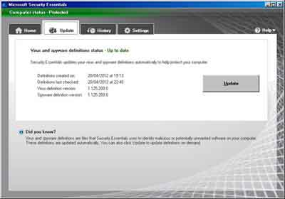 Microsoft Virus Protection Update Button