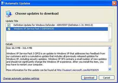 Updating windows xp to service pack 3