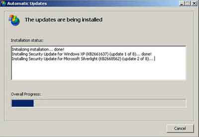Windows XP Updates Are Being Installed