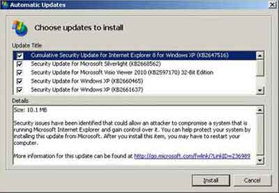 Choose Security Updates To Install