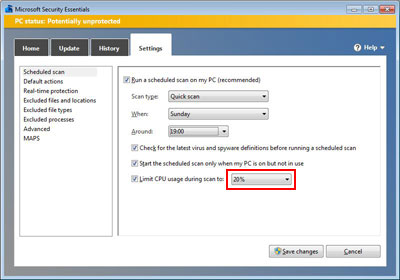 MSE Limit CPU Usage Setting