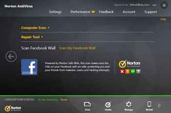 Nortin Anti Virus Social Media Scanning Option