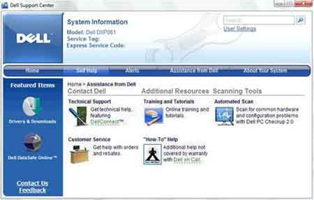 Dell Support Center Screenshot 2012
