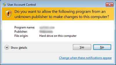 Windows 7 User Account Control Prompt