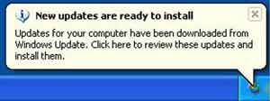 System Tray New Updates Prompt Windows XP