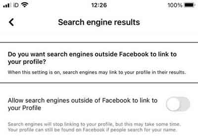 Facebook's Search Engine Results Settings