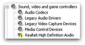 A Sound Card Device Driver Issue Sign