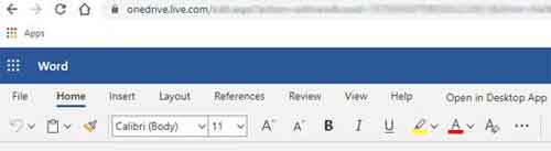 Microsoft Office 365 Word Online