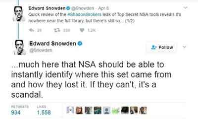 Edward Snowden Tweet on NSA