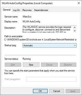 Microsoft Windows WLAN AutoConfig Service Settings