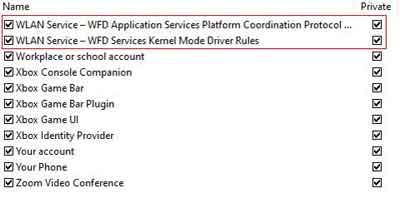 Microsoft Windows Firewall WLAN Settings