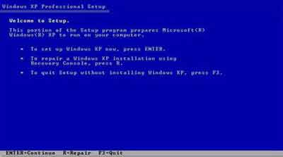Windows XP Recovery Console Repair Option