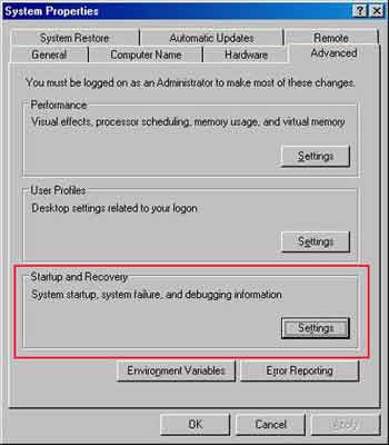 Recovery Console System Properties