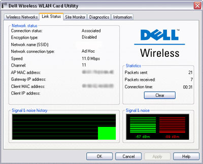 Dell Wireless WLAN Card Utility Link Status